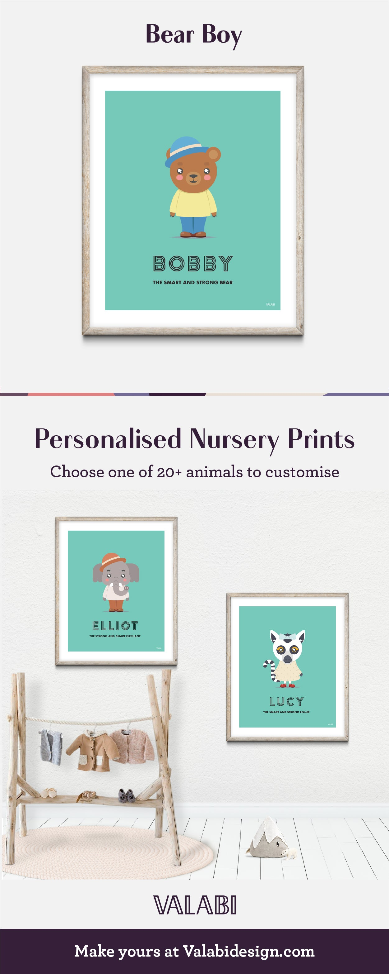 Animal Nursery Art Baby Gift Print Bear Boy