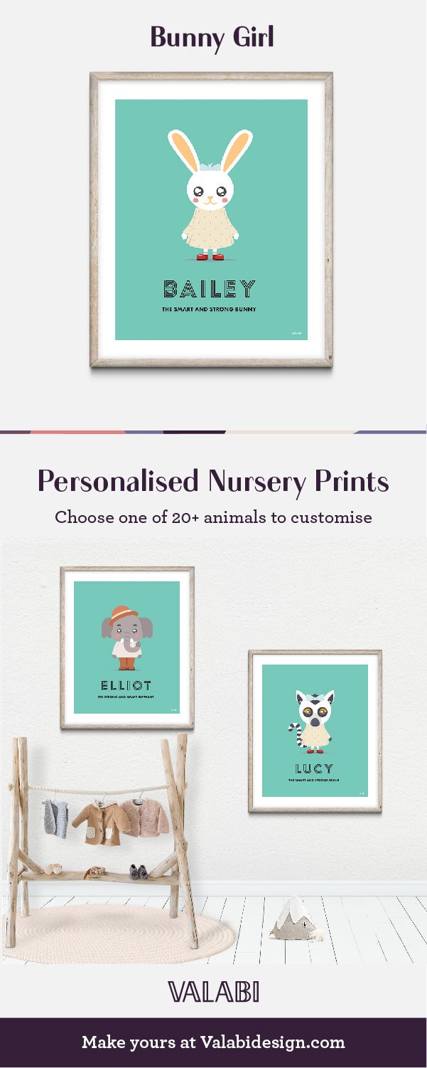 Animal Nursery Art Baby Gift Print Bunny