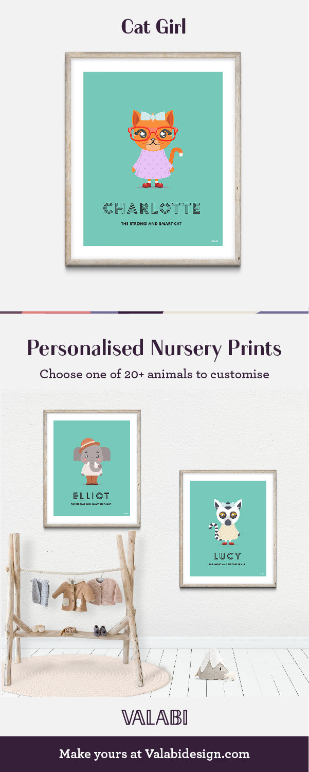Animal Nursery Art Baby Gift Print Cat