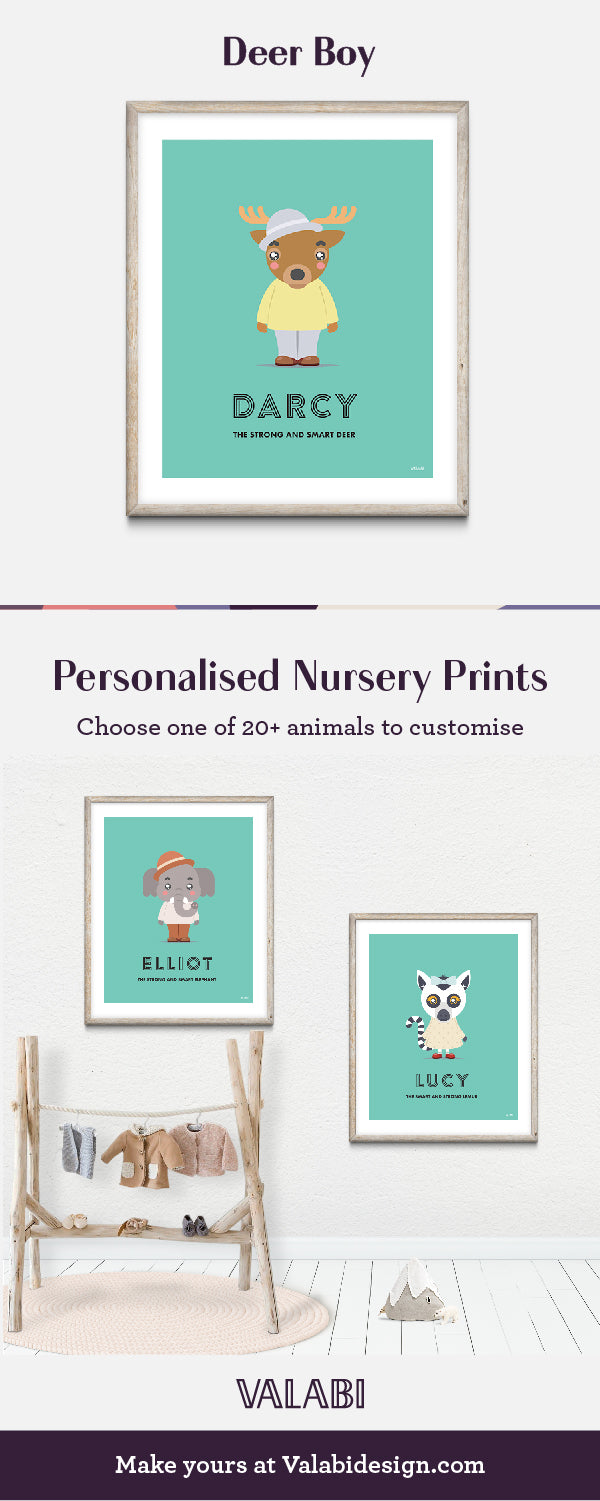 """Deer"" - Animal Nursery Art Print - Custom Baby Gifts"