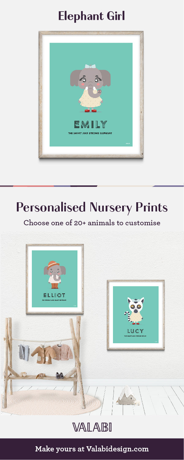 Animal Nursery Art Baby Gift Print Elephant