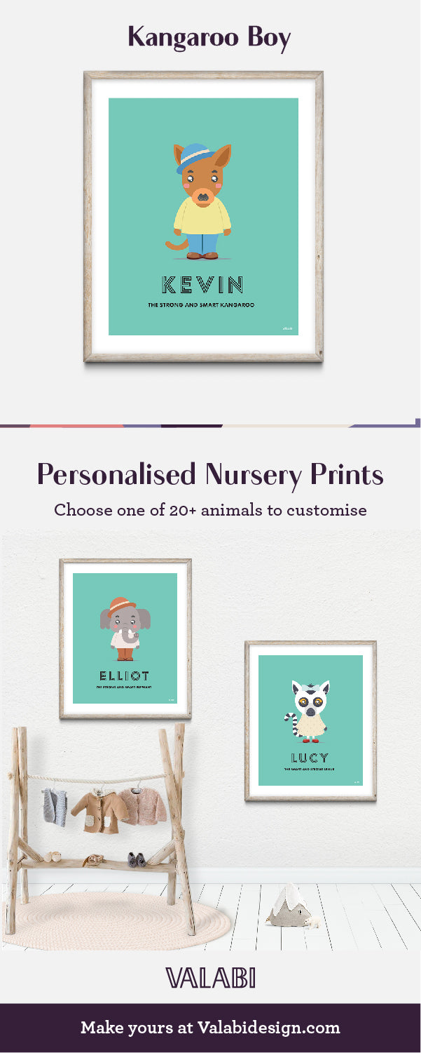 Animal Nursery Art Baby Gift Print Kangaroo