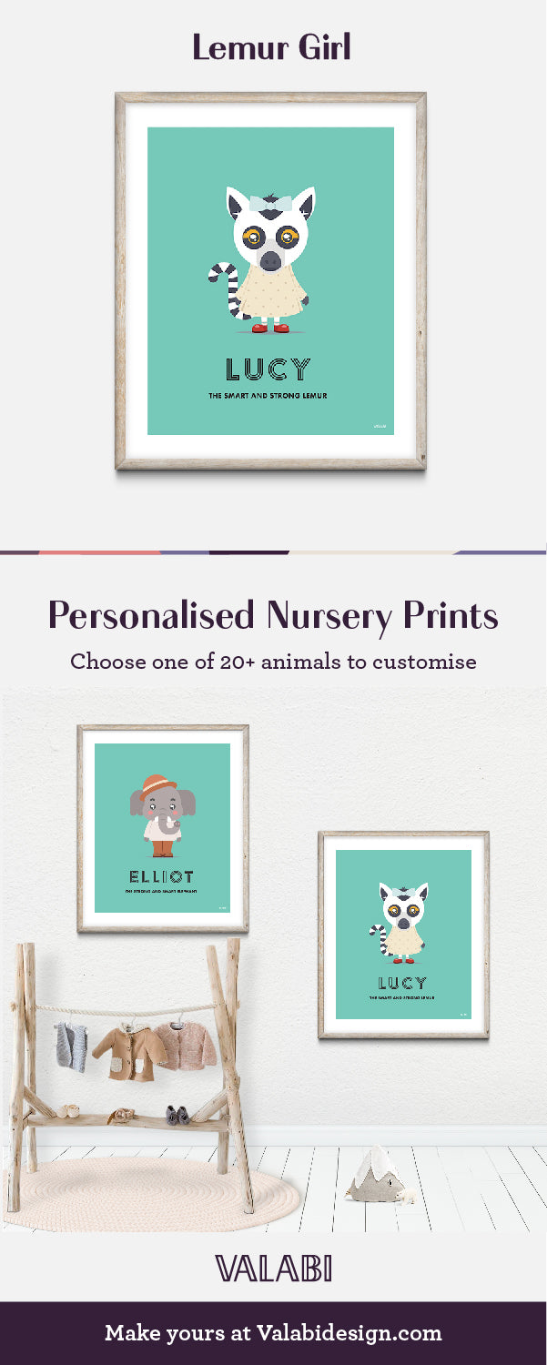 Animal Nursery Art Baby Gift Print Lemur