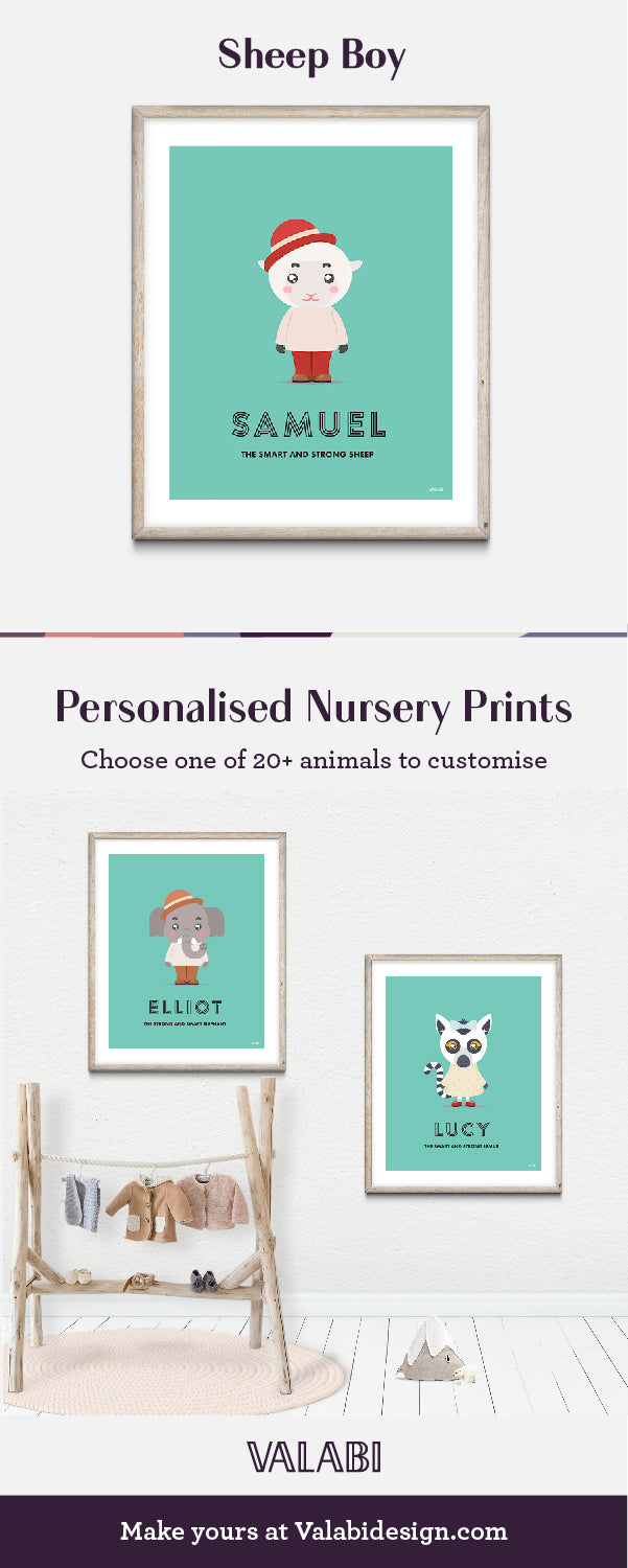Animal Nursery Art Baby Gift Print Sheep