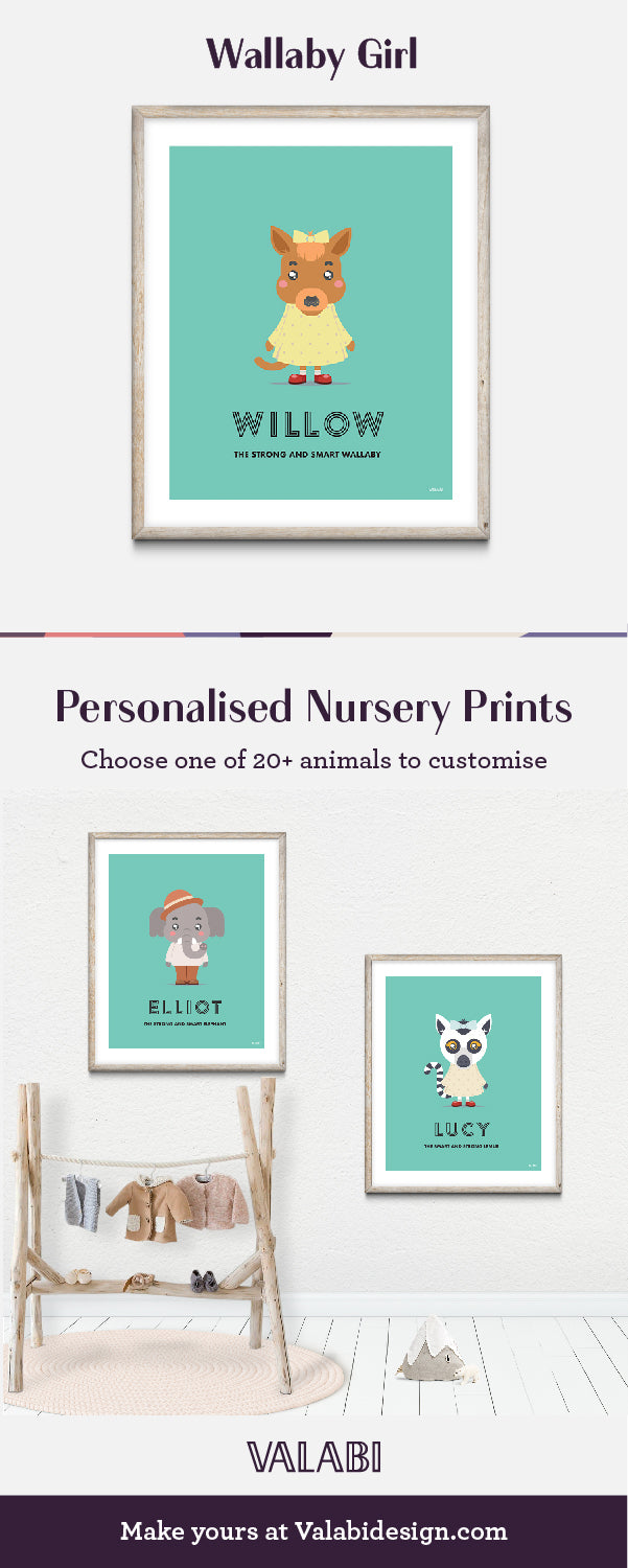 Animal Nursery Art Baby Gift Print Wallaby