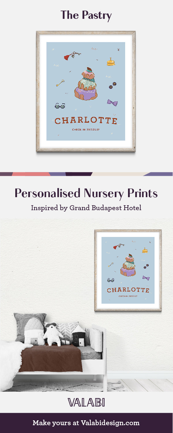 Wes Anderson Grand Budapest Hotel Inspired Nursery Art Print Glasses