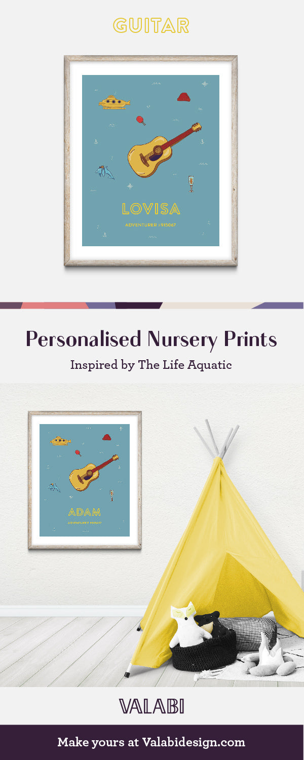 Wes Anderson Inspired Life Aquatic Nursery Art Baby Gift Print Guitar