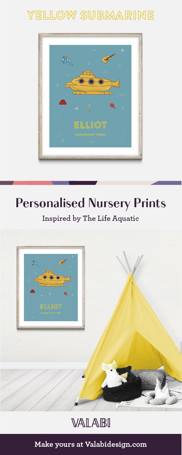 Wes Anderson Inspired Life Aquatic Nursery Art Baby Gift Print Yellow Submarine