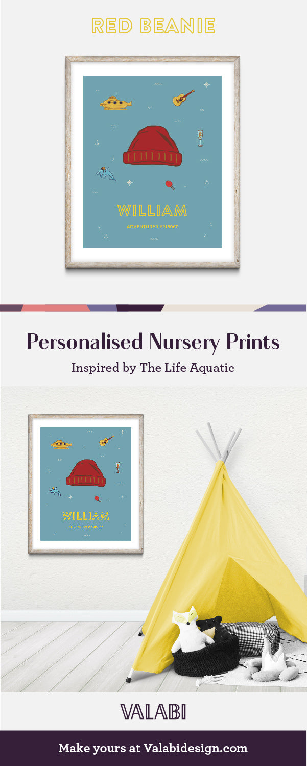 Wes Anderson Inspired Life Aquatic Nursery Art Baby Gift Print Beanie