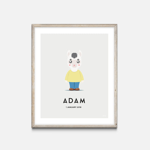"""Alpaca Boy"" - Animal Nursery Print Oak Frame Grey - Custom Baby Gifts - Valabi Nursery Prints"