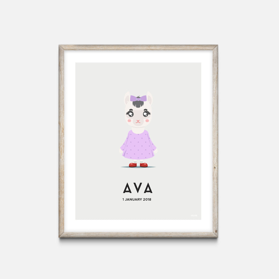 """Alpaca"" - Animal Nursery Print Oak Frame Grey - Custom Baby Gifts"