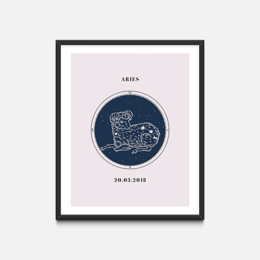 """Aries"" - Zodiac Star Sign Nursery Art Print Black Frame - Custom Baby Gifts"