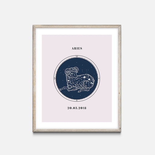 """Aries"" - Zodiac Star Sign Nursery Art Print Oak Frame - Custom Baby Gifts"