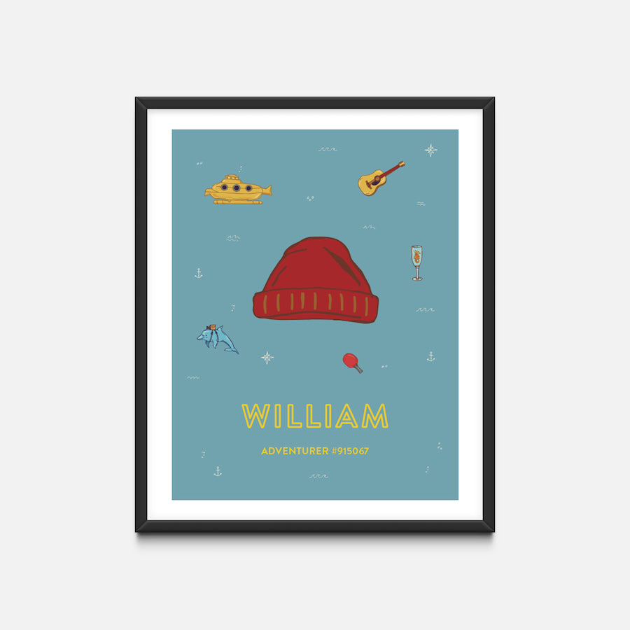"""Beanie"" Black Frame - Wes Anderson Life Aquatic Inspired Art Print - Custom Baby Gifts"