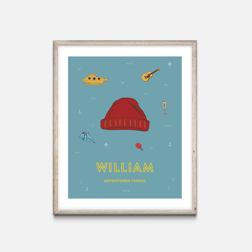 """Beanie"" Oak Frame - Wes Anderson Life Aquatic Inspired Art Print - Custom Baby Gifts"