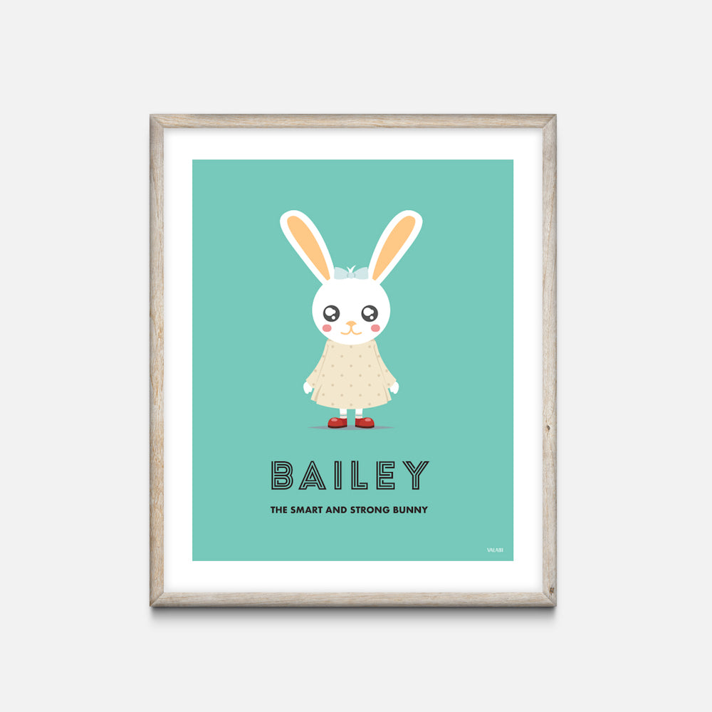"""Bunny Girl"" - Animal Nursery Print Oak Frame - Custom Baby Gifts - Valabi Nursery Prints"