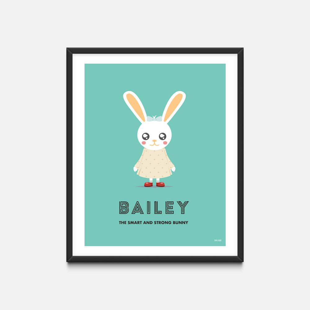 """Bunny Girl"" - Animal Nursery Print Black Frame - Custom Baby Gifts - Valabi Nursery Prints"
