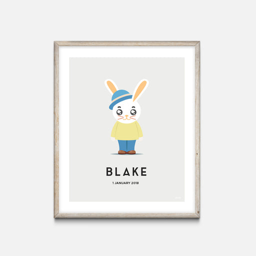 """Bunny Boy"" - Animal Nursery Print Oak Frame Grey - Custom Baby Gifts - Valabi Nursery Prints"