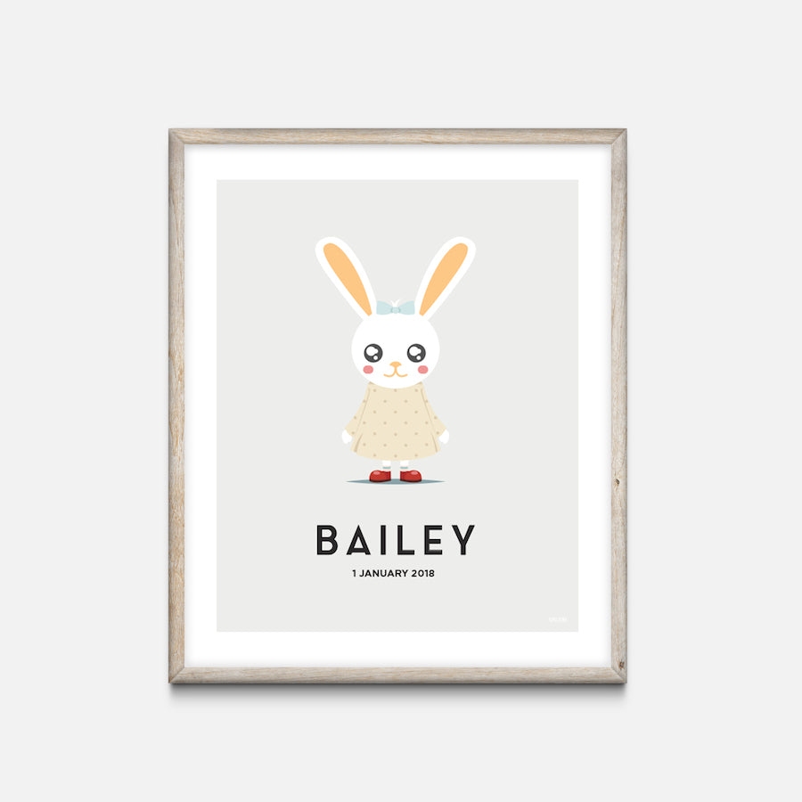 """Bunny Girl"" - Animal Nursery Print Oak Frame Grey - Custom Baby Gifts - Valabi Nursery Prints"