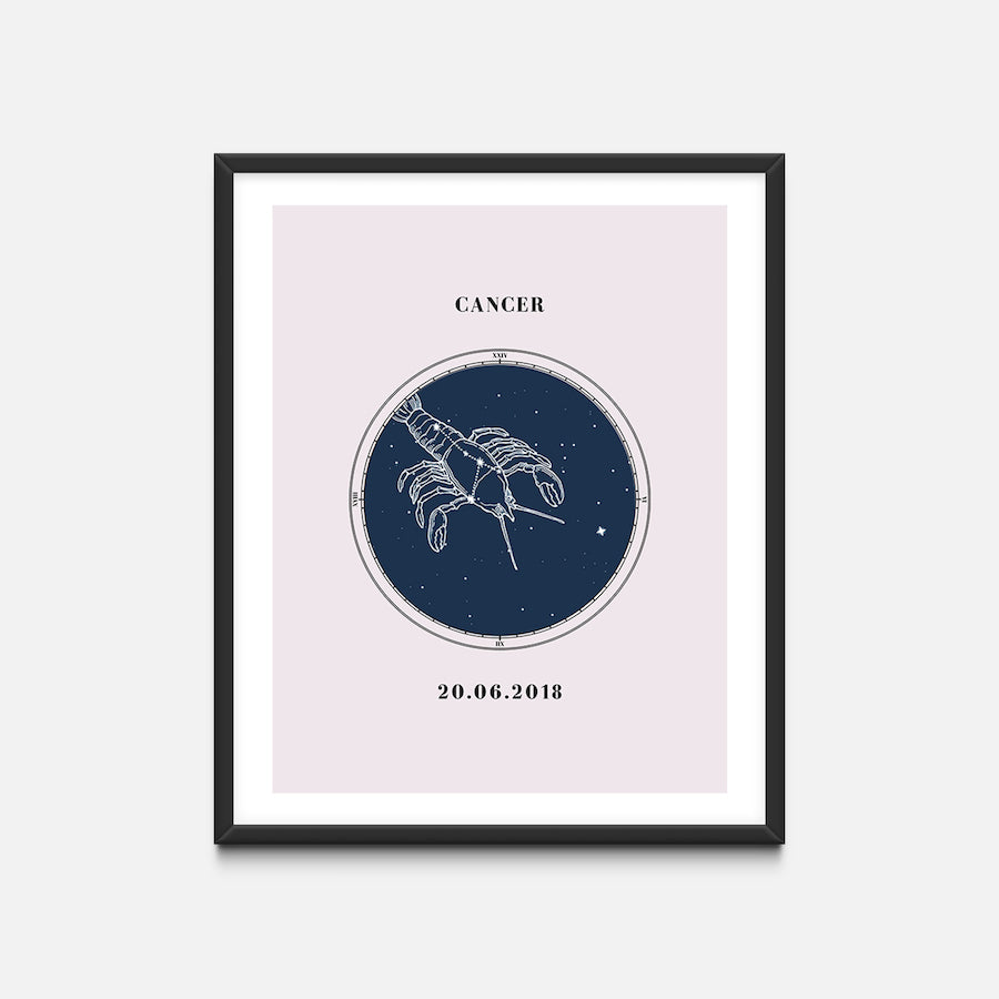"""Cancer"" - Zodiac Star Sign Nursery Art Print Black Frame - Custom Baby Gifts"