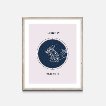 """Capricorn"" - Zodiac Star Sign Nursery Art Print Oak frame - Custom Baby Gifts"