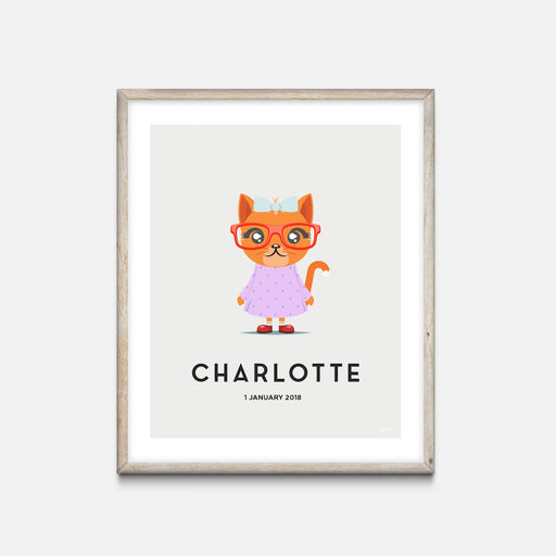 """Cat"" - Animal Nursery Print Oak Frame Grey - Custom Baby Gifts"