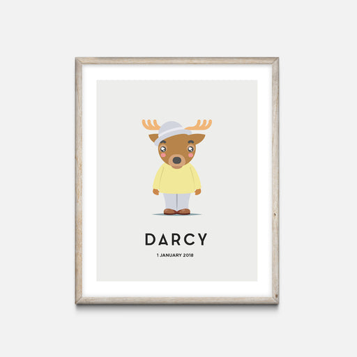 """Deer"" - Animal Nursery Print Oak Frame Grey - Custom Baby Gifts"