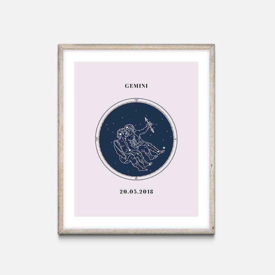 """Gemini"" - Zodiac Star Sign Nursery Art Print Oak Frame - Custom Baby Gifts"
