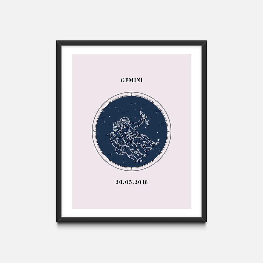 """Gemini"" - Zodiac Star Sign Nursery Art Print Black Frame - Custom Baby Gifts"