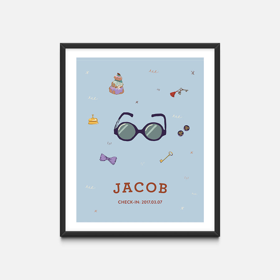 """Glasses"" Black Frame - Wes Anderson Grand Budapest Hotel Inspired Art Print - Custom Baby Gifts"