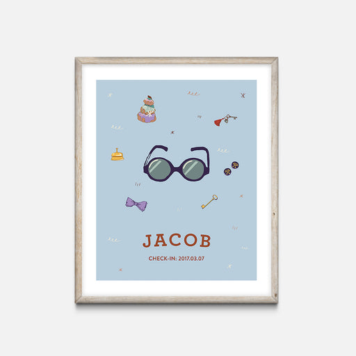 """Glasses"" Oak Frame - Wes Anderson Grand Budapest Hotel Inspired Art Print - Custom Baby Gifts"