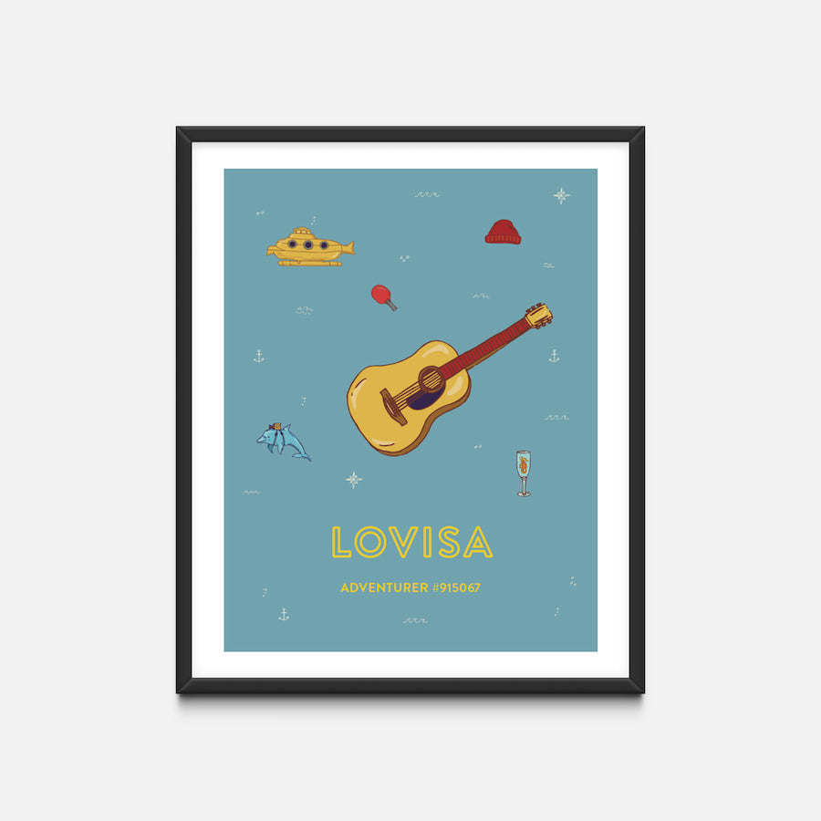 """Guitar"" Black Frame - Wes Anderson Life Aquatic Inspired Art Print - Custom Baby Gifts"
