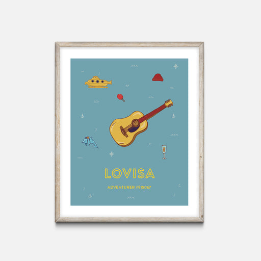 """Guitar"" Oak Frame - Wes Anderson Life Aquatic Inspired Art Print - Custom Baby Gifts"