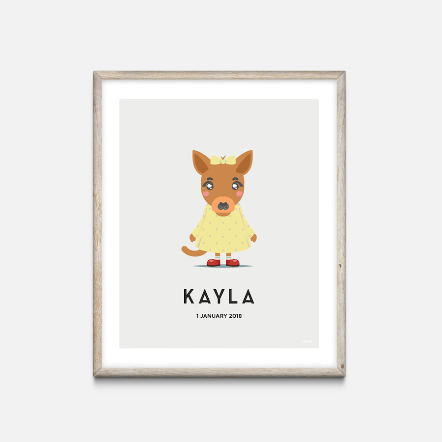 """Kangaroo"" - Animal Nursery Print Oak Frame Grey - Custom Baby Gifts"