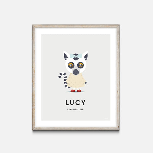 """Lemur"" - Animal Nursery Print Oak Frame Grey - Custom Baby Gifts"