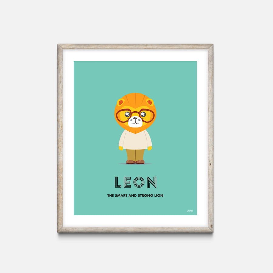 """Lion"" - Animal Nursery Print Oak Frame - Custom Baby Gifts"