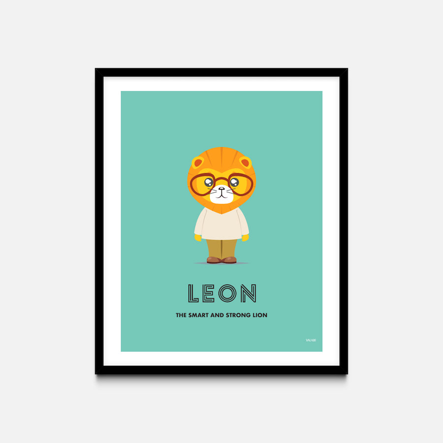 """Lion"" - Animal Nursery Print Black Frame - Custom Baby Gifts"