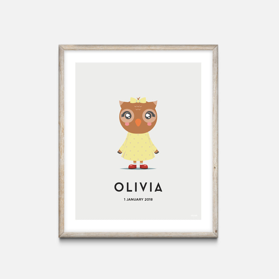 """Owl"" - Animal Nursery Print Oak Frame Grey - Custom Baby Gifts"
