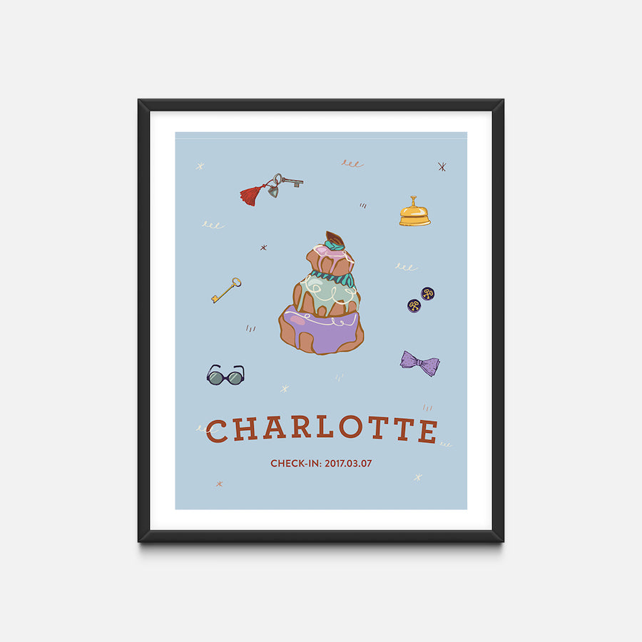 """Pastry"" Black Frame - Wes Anderson Grand Budapest Hotel Inspired Art Print - Custom Baby Gifts"
