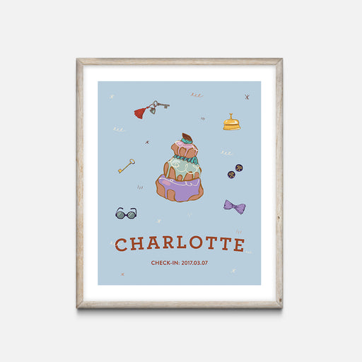 """Pastry"" Oak Frame - Wes Anderson Grand Budapest Hotel Inspired Art Print - Custom Baby Gifts"