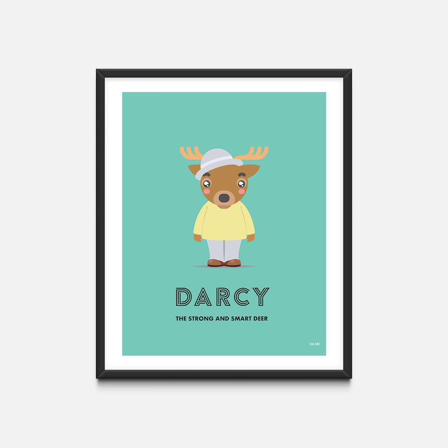 """Deer"" - Animal Nursery Print Black Frame - Custom Baby Gifts"