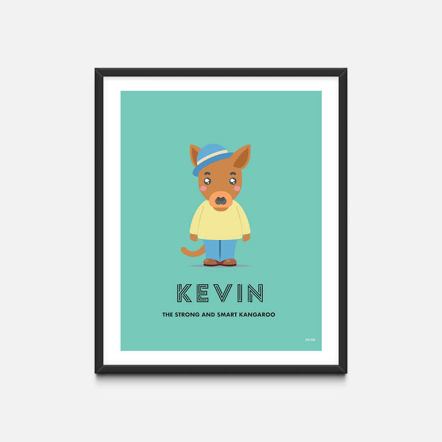 """Kangaroo"" - Animal Nursery Print Black Frame - Custom Baby Gifts"