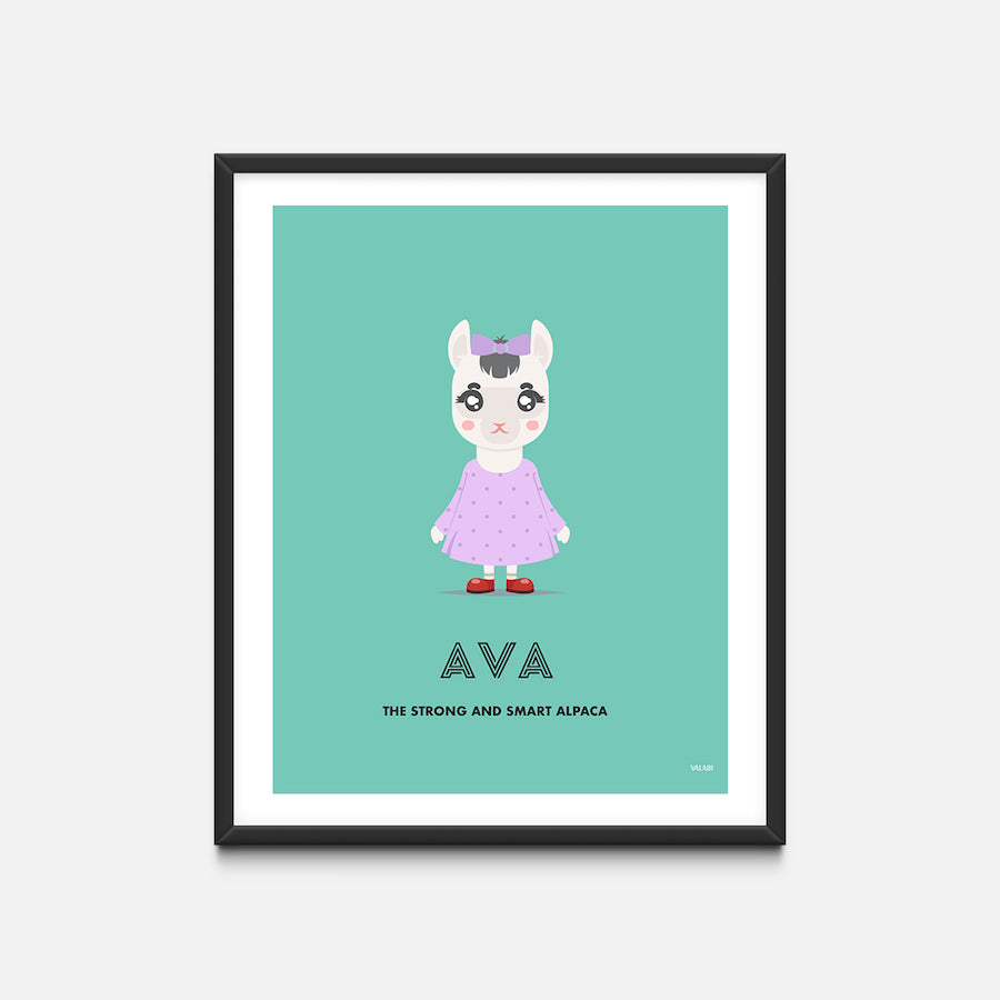 """Alpaca"" - Animal Nursery Print Black Frame - Custom Baby Gifts"