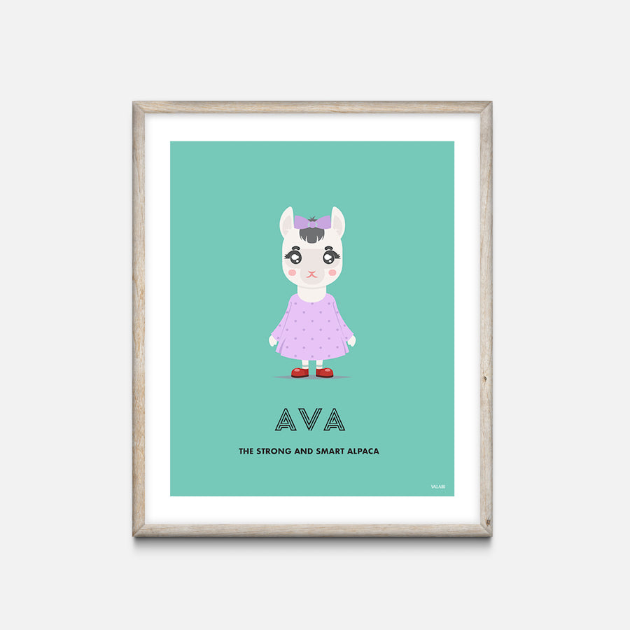 """Alpaca"" - Animal Nursery Print Oak Frame - Custom Baby Gifts"