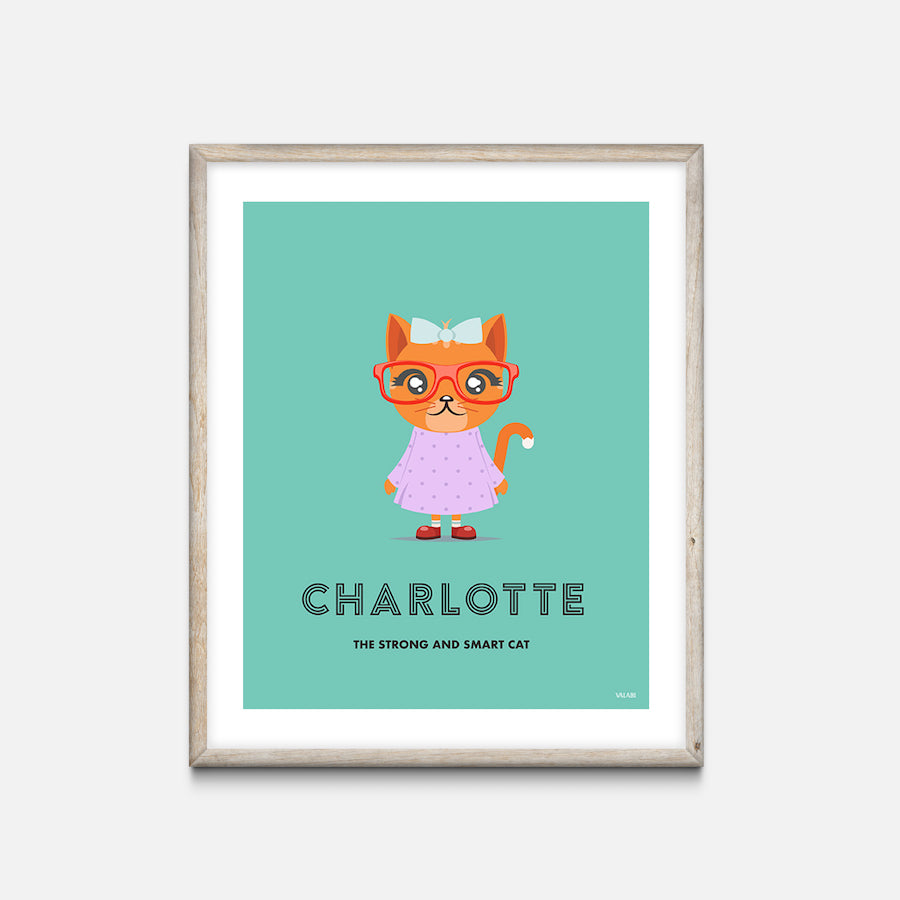 """Cat"" - Animal Nursery Print Oak Frame - Custom Baby Gifts"