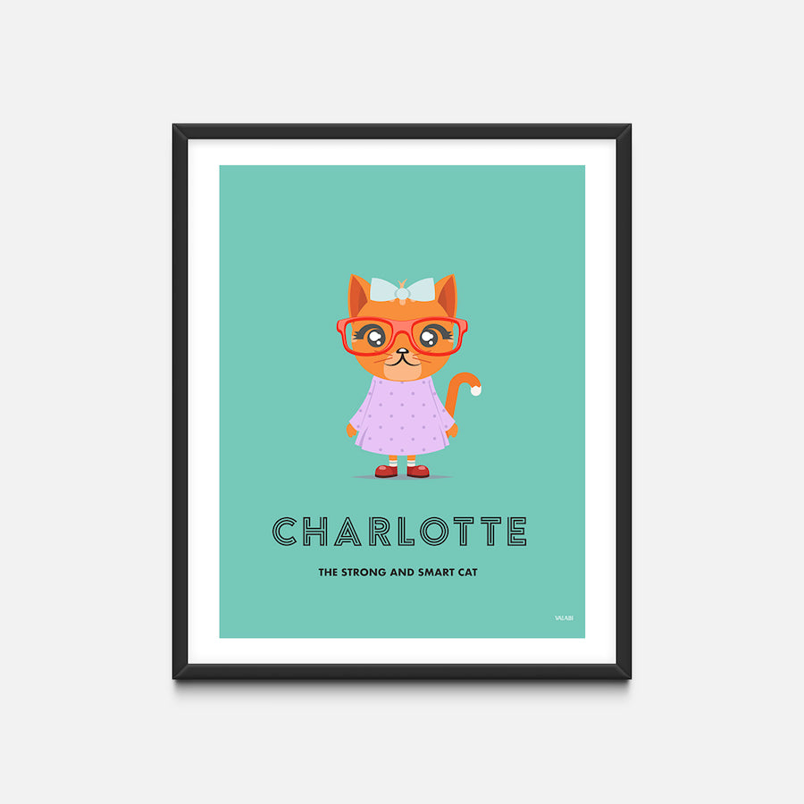 """Cat"" - Animal Nursery Print Black Frame - Custom Baby Gifts"