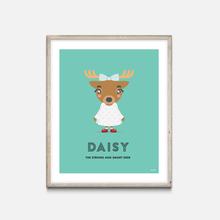"""Deer"" - Animal Nursery Print Oak Frame - Custom Baby Gifts"