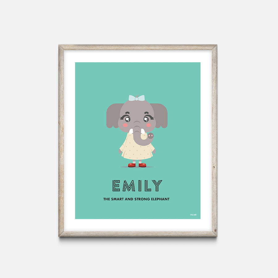 """Elephant"" - Animal Nursery Print Oak Frame - Custom Baby Gifts"