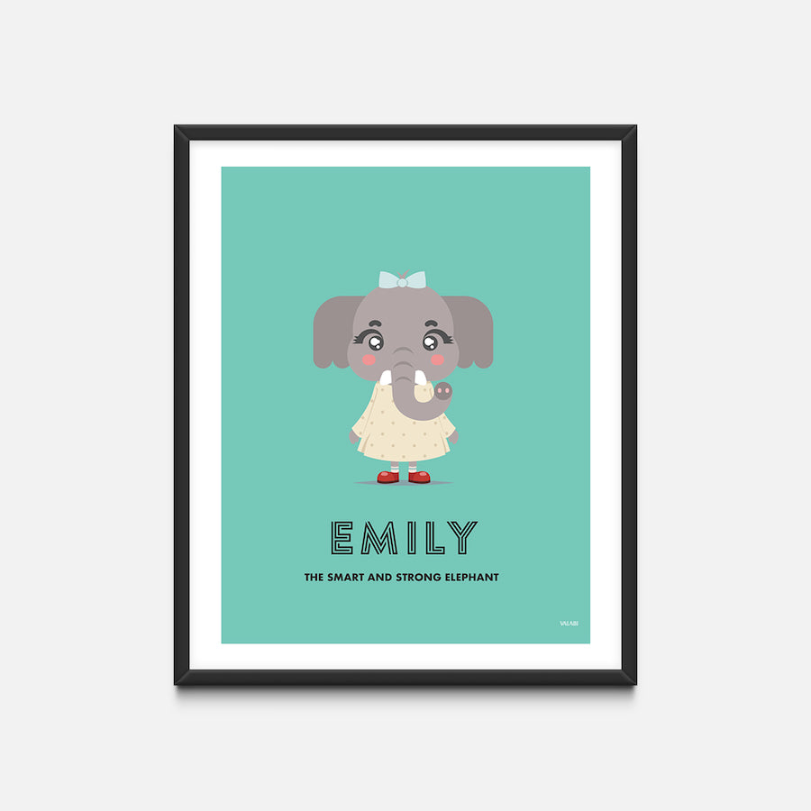 """Elephant"" - Animal Nursery Print Black Frame - Custom Baby Gifts"