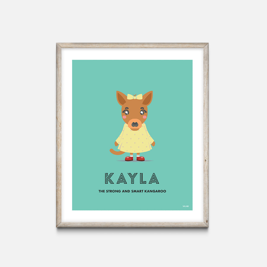 """Kangaroo"" - Animal Nursery Print Oak Frame - Custom Baby Gifts"